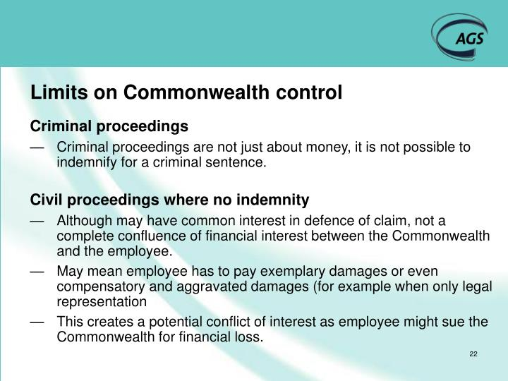 Limits on Commonwealth control