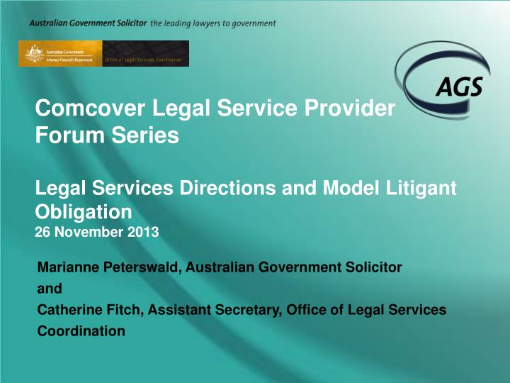 Comcover Legal Service Provider Forum Series