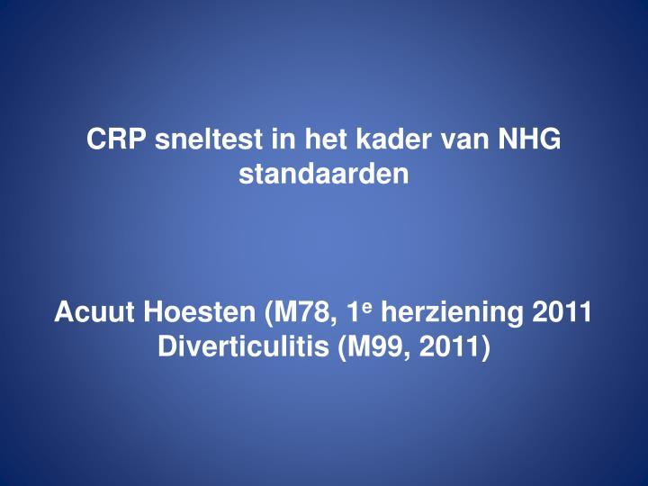 CRP sneltest in het kader van NHG standaarden