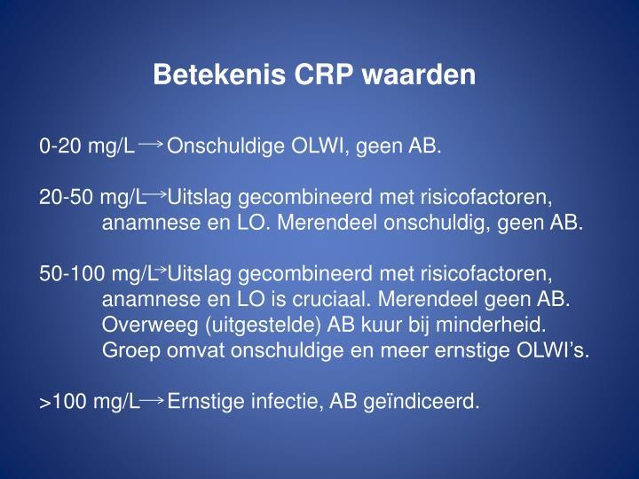 Betekenis CRP waarden