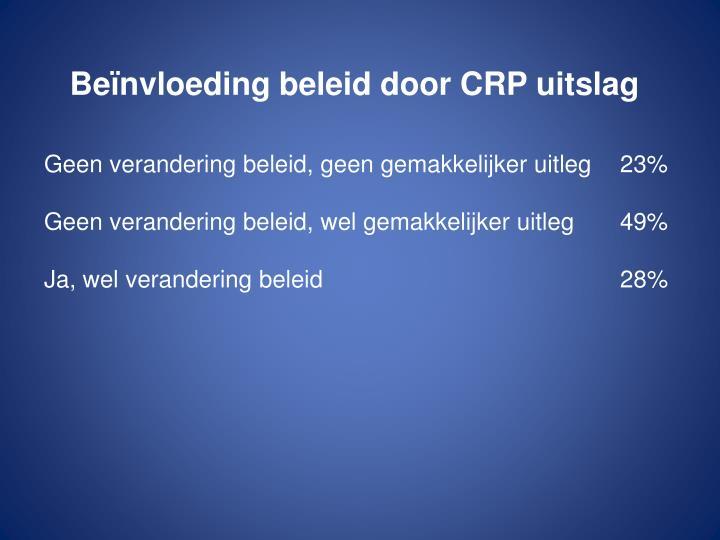 Beïnvloeding beleid door CRP uitslag