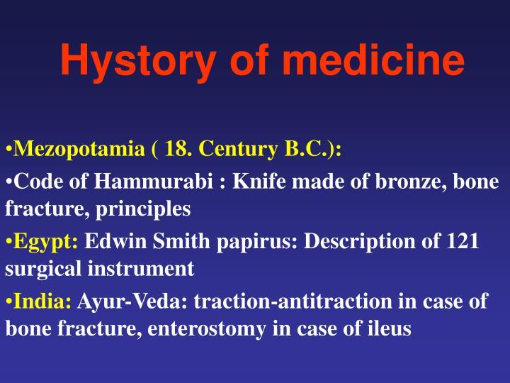 Hystory of medicine