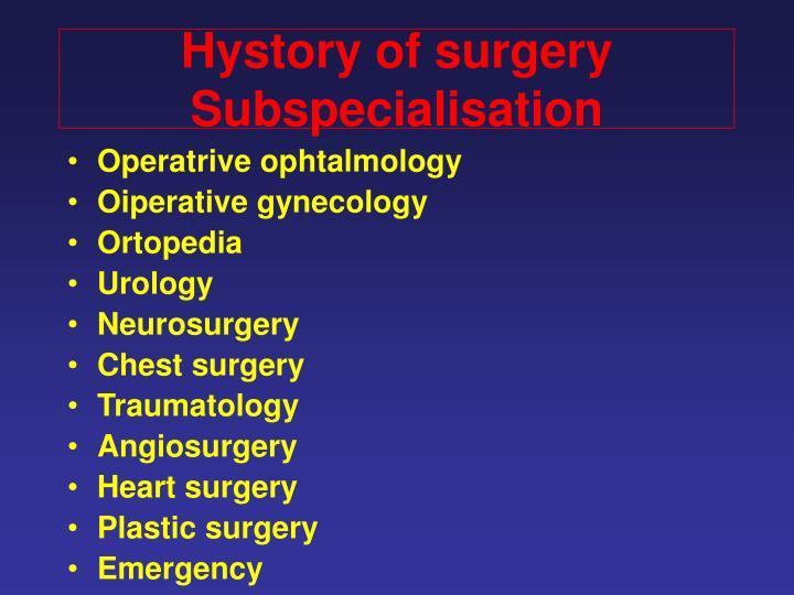Hystory of surgery