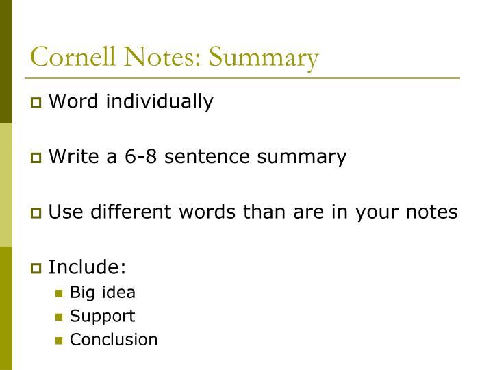 Cornell Notes: Summary