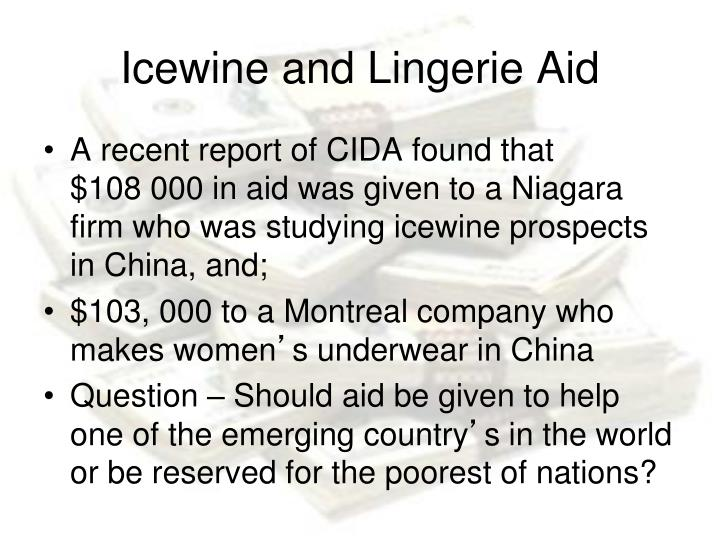Icewine and Lingerie Aid