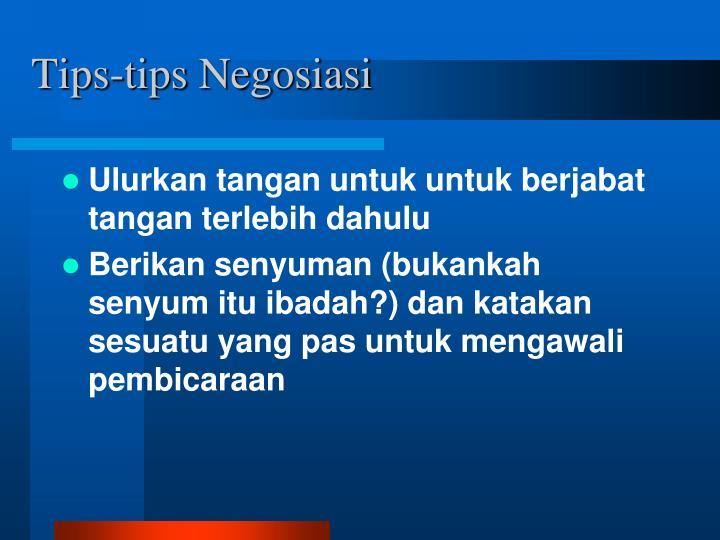Tips-tips Negosiasi