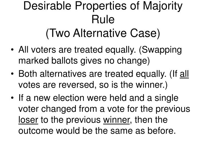 Desirable Properties of Majority Rule