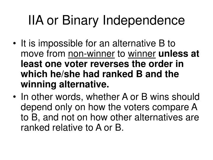 IIA or Binary Independence