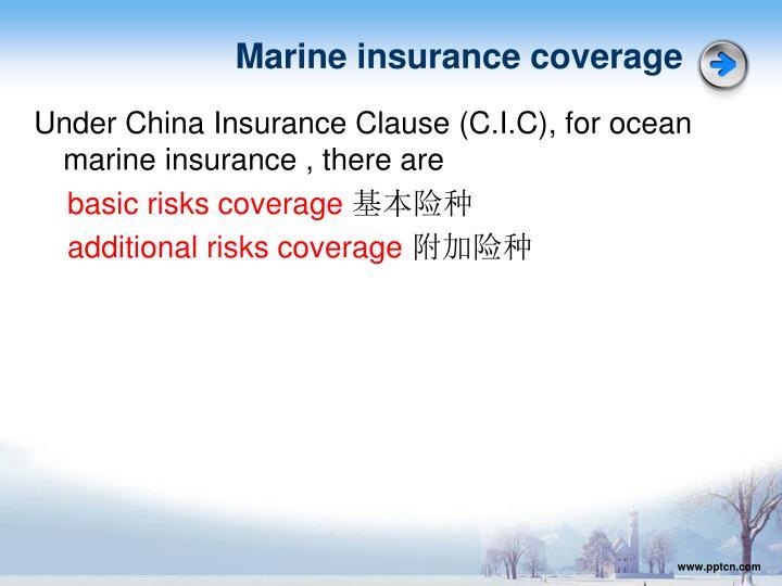 Marine insurance coverage
