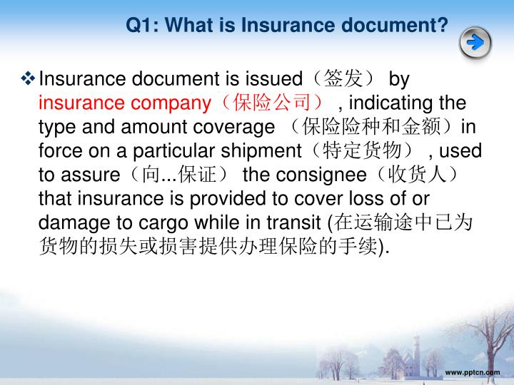 Q1: What is Insurance document?