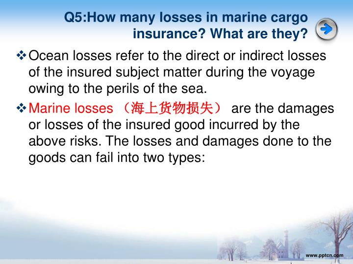 Q5:How many losses in marine cargo insurance? What are they?