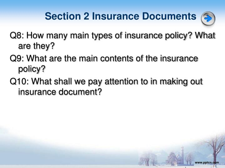 Section 2 Insurance Documents
