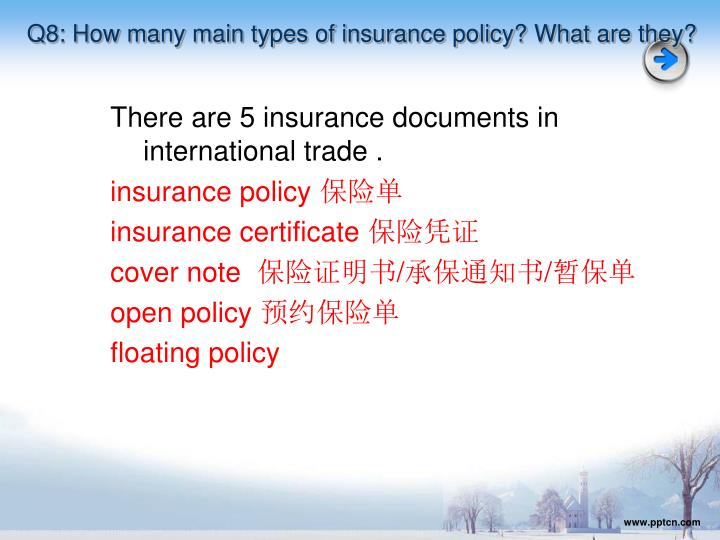 Q8: How many main types of insurance policy? What are they?