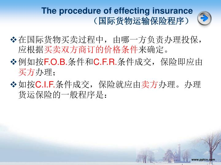 The procedure of effecting insurance