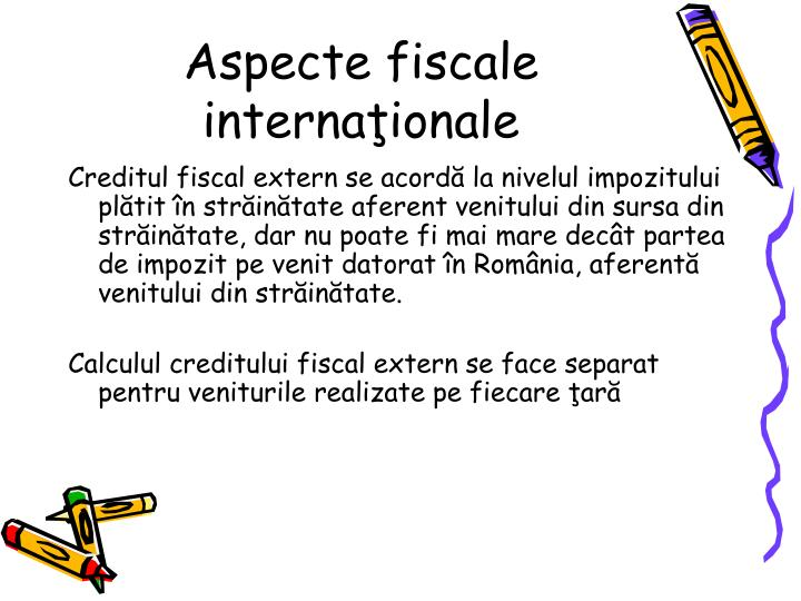 Aspecte fiscale internaionale