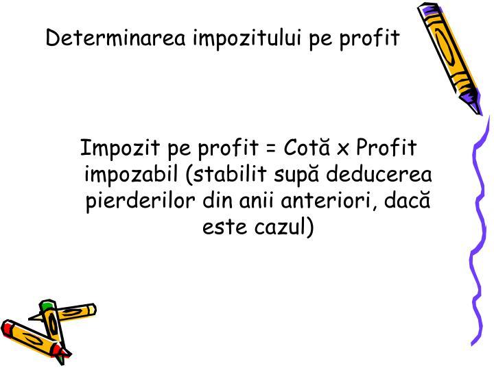 Determinarea impozitului pe profit