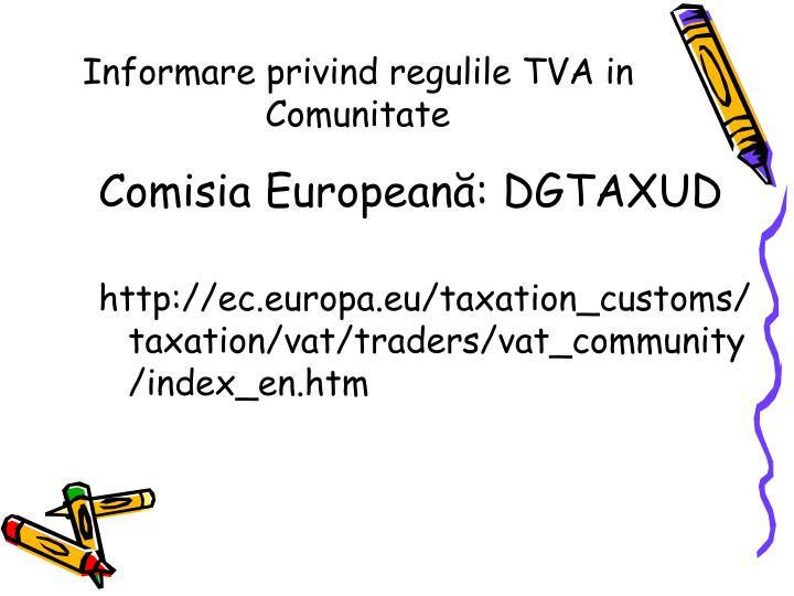 Informare privind regulile TVA in Comunitate