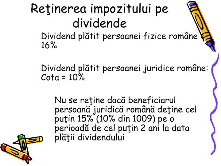 Reinerea impozitului pe dividende