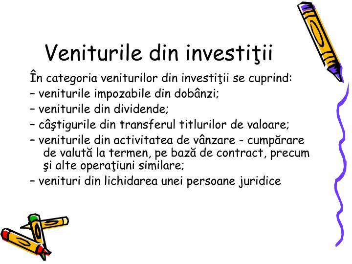 Veniturile din investiii