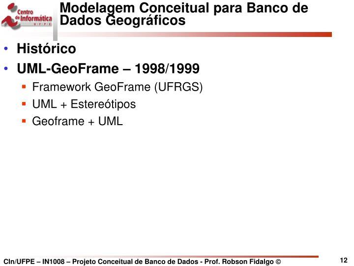 Modelagem Conceitual para Banco de Dados Geográficos
