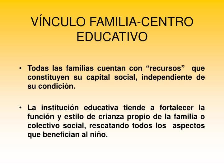 VÍNCULO FAMILIA-CENTRO EDUCATIVO