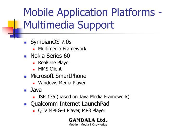 Mobile Application Platforms - Multimedia Support