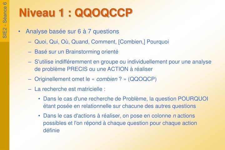 Niveau 1 : QQOQCCP