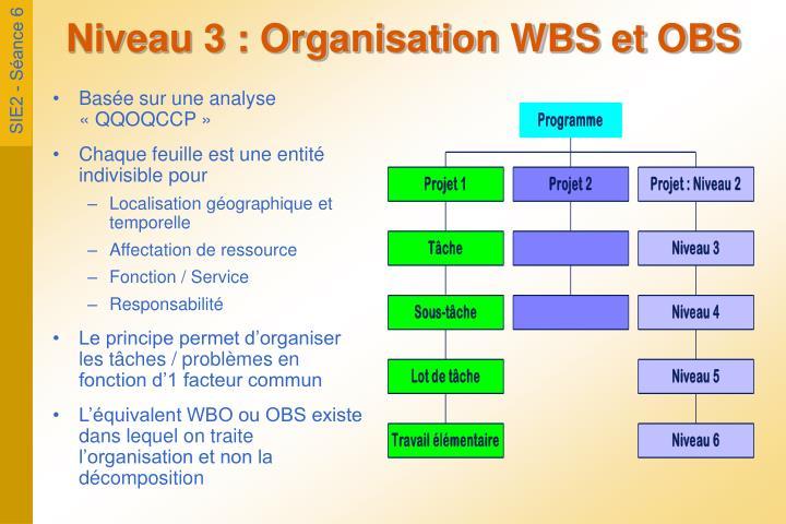 Niveau 3 : Organisation WBS et OBS