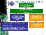 initial testing grades pre k k 1 st