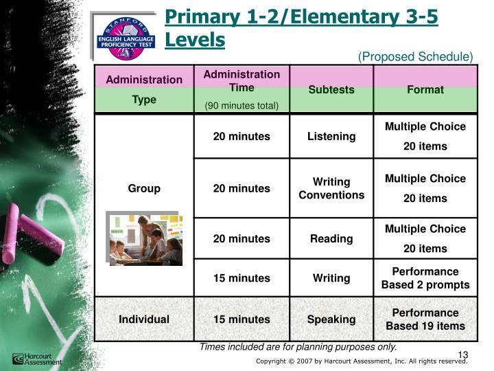 Primary 1-2/Elementary 3-5        Levels