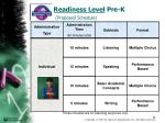 readiness level pre k proposed schedule