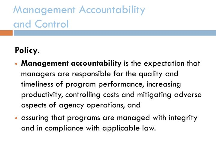 Management accountability and control2