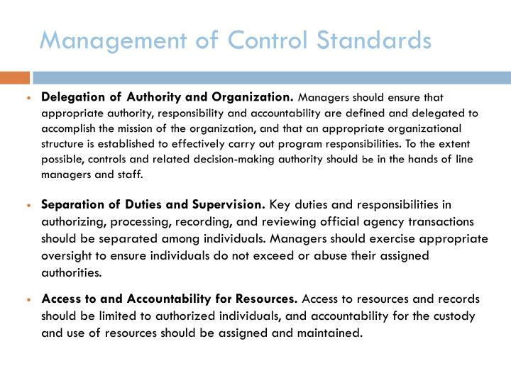 Management of Control Standards