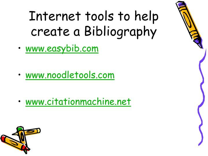 Internet tools to help create a Bibliography