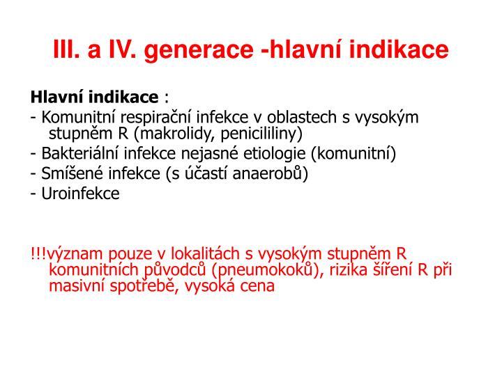 III. a IV. generace -hlavní indikace