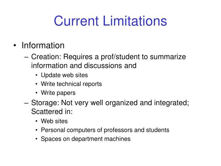 Current Limitations
