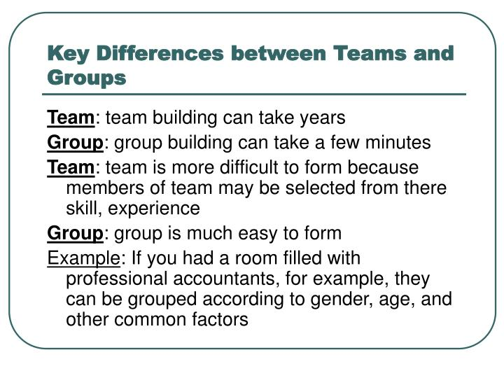 Key Differences between Teams and Groups