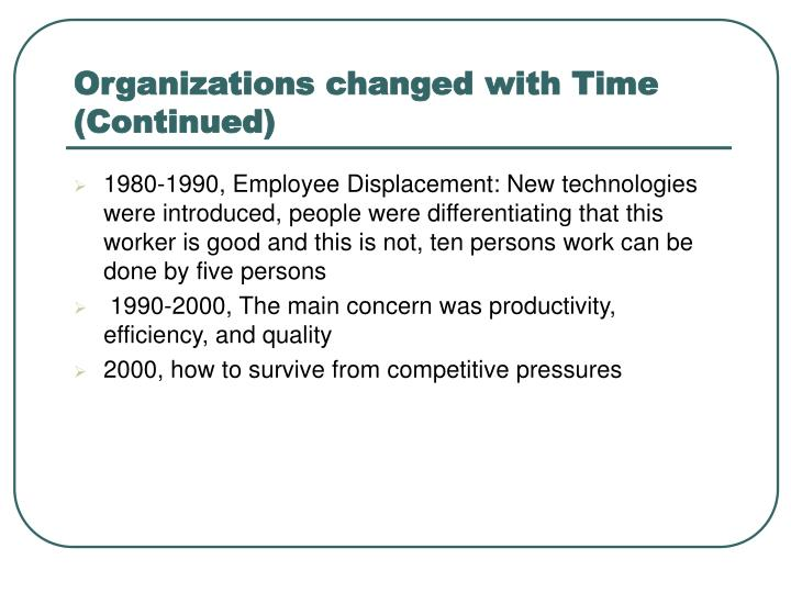 Organizations changed with Time (Continued)