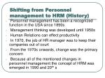 shifting from personnel management to hrm history