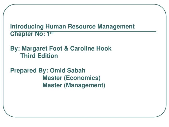 Introducing Human Resource Management