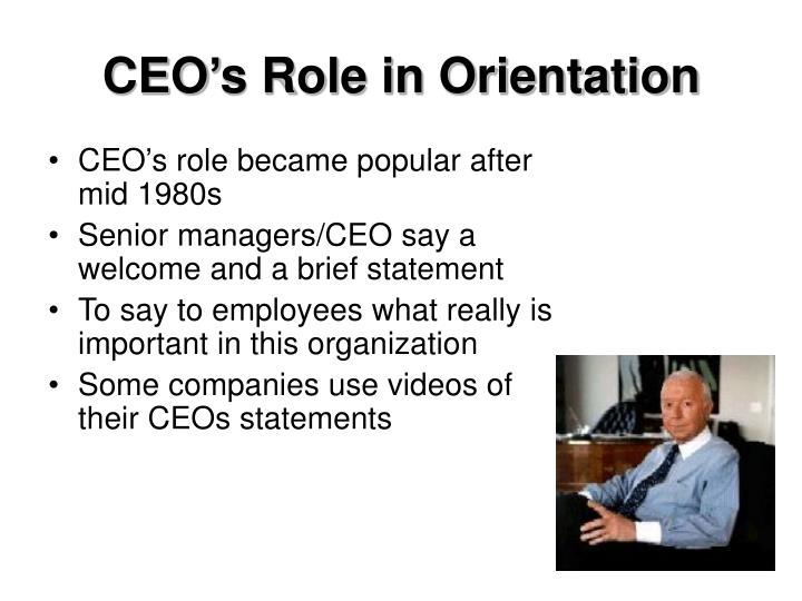 CEO's Role in Orientation