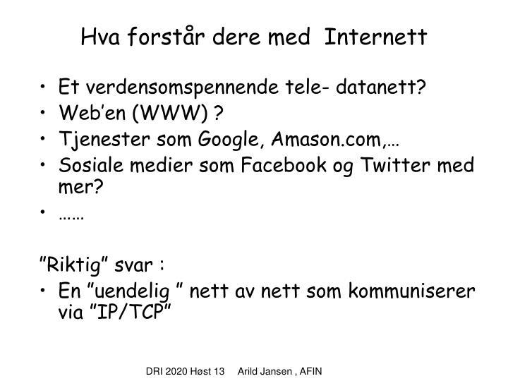 Hva forstår dere med  Internett