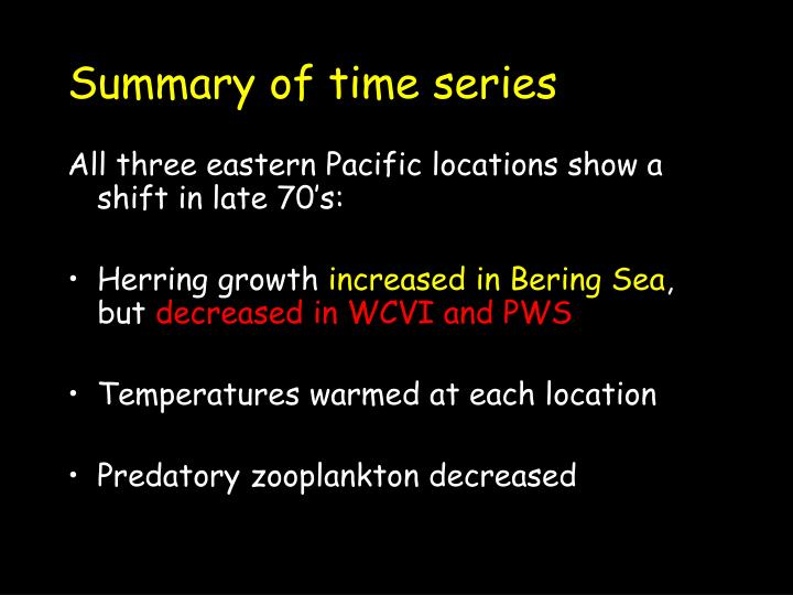 Summary of time series