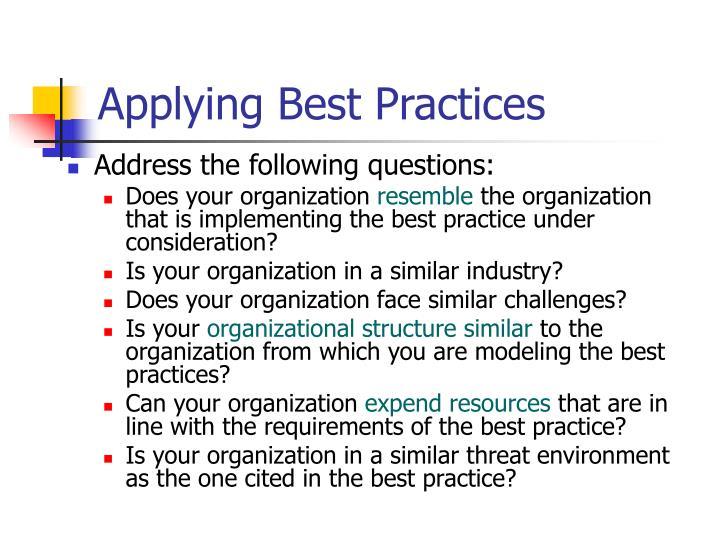 Applying Best Practices