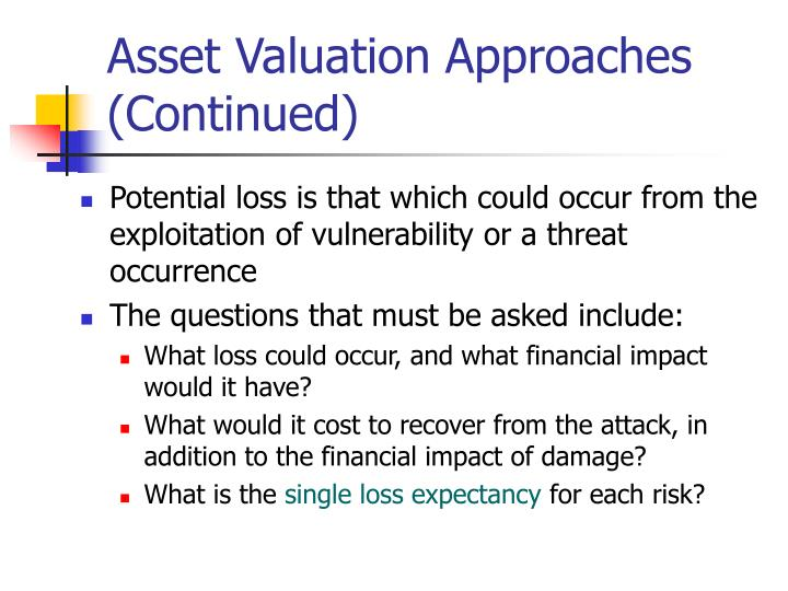 Asset Valuation Approaches (Continued)