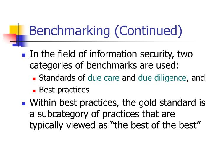 Benchmarking (Continued)