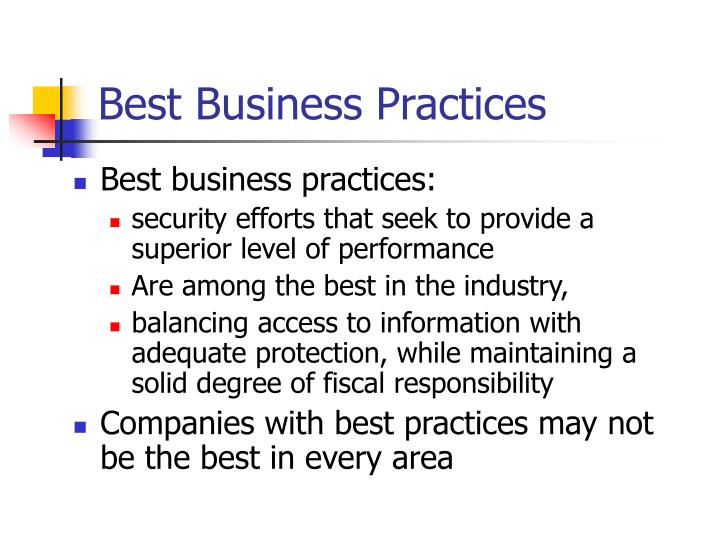 Best Business Practices