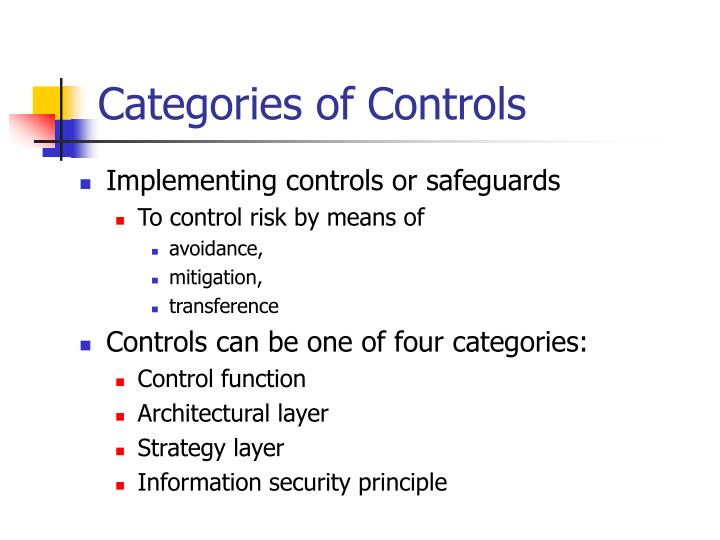 Categories of Controls