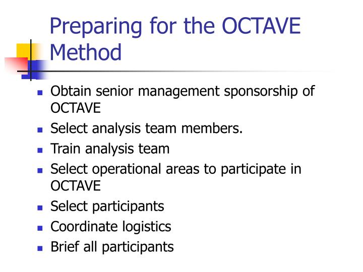 Preparing for the OCTAVE Method