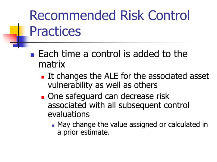 Recommended Risk Control Practices